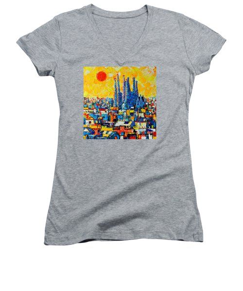 Abstract Sunset Over Sagrada Familia In Barcelona Women's V-Neck (Athletic Fit)