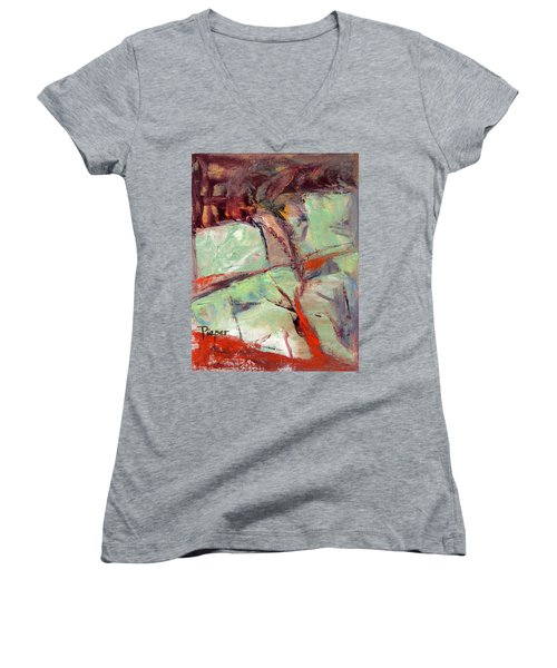 Abstract With Cadmium Red Women's V-Neck T-Shirt