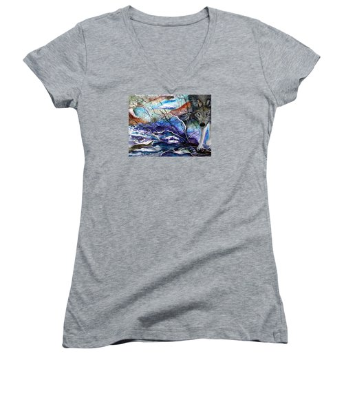 Women's V-Neck T-Shirt (Junior Cut) featuring the painting Abstract Wolf by Lil Taylor