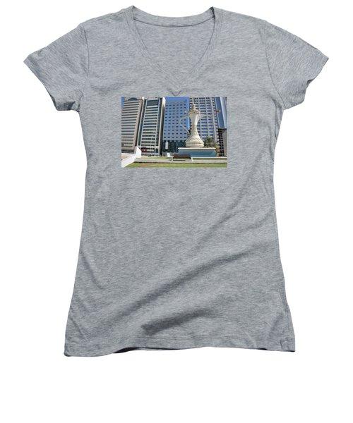 Abu Dhabi Al Ittihad Square Women's V-Neck T-Shirt (Junior Cut)