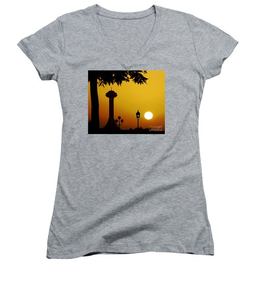 Women's V-Neck T-Shirt (Junior Cut) featuring the photograph Abu Dhabi by Andrea Anderegg