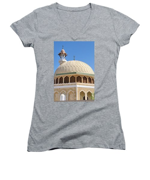 Women's V-Neck T-Shirt (Junior Cut) featuring the photograph Abu Dhabi Mosque by Steven Richman