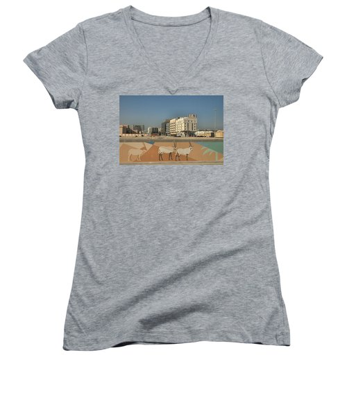 Women's V-Neck T-Shirt (Junior Cut) featuring the photograph Abu Dhabi Outskirts by Steven Richman