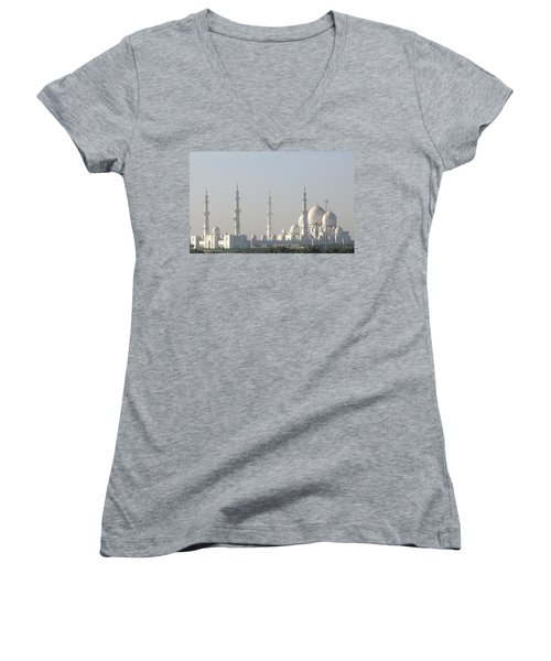 Women's V-Neck T-Shirt (Junior Cut) featuring the photograph Abu Dhabi Sheikh Zayed Grand Mosque by Steven Richman