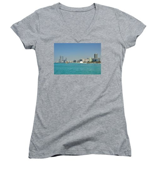 Women's V-Neck T-Shirt (Junior Cut) featuring the photograph Abu Dhabi Skyline by Steven Richman