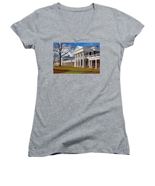 Academical Village At The University Of Virginia Women's V-Neck T-Shirt (Junior Cut) by Melinda Fawver