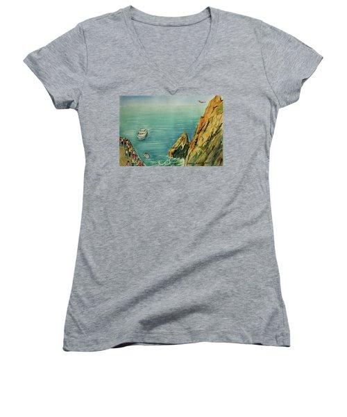 Acapulco Cliff Diver Women's V-Neck T-Shirt (Junior Cut) by Frank Hunter