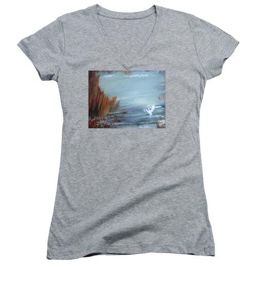 Achieving Stillness  Women's V-Neck T-Shirt (Junior Cut) by Laurianna Taylor