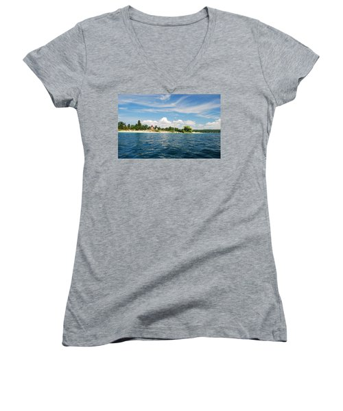 Across The Bay To The Light Women's V-Neck T-Shirt (Junior Cut) by Janice Adomeit