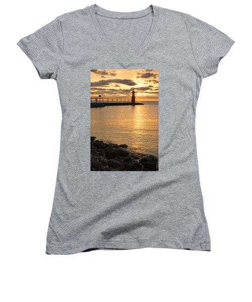 Across The Harbor Women's V-Neck T-Shirt (Junior Cut) by Bill Pevlor