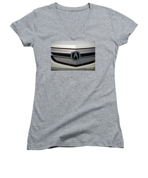 Acura Grill Emblem Close Up Women's V-Neck (Athletic Fit)