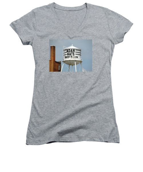 Women's V-Neck T-Shirt (Junior Cut) featuring the photograph Adam Hats In Deep Ellum by Charlie and Norma Brock