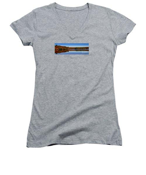 Adirondack October Women's V-Neck T-Shirt (Junior Cut) by Diane E Berry