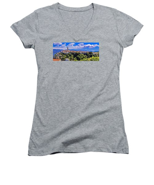 Adriatic Town Of Vrbnik Panoramic View Women's V-Neck T-Shirt (Junior Cut) by Brch Photography