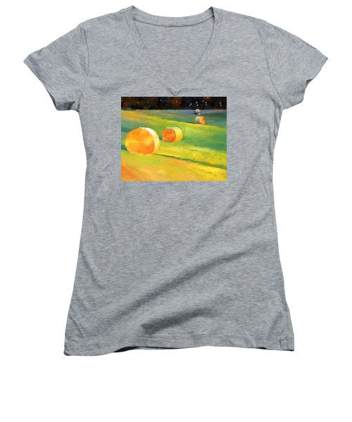 Advance Mills Hall Bales Women's V-Neck T-Shirt
