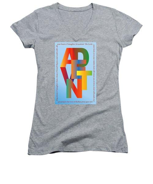 Advent Women's V-Neck T-Shirt (Junior Cut) by Chuck Mountain