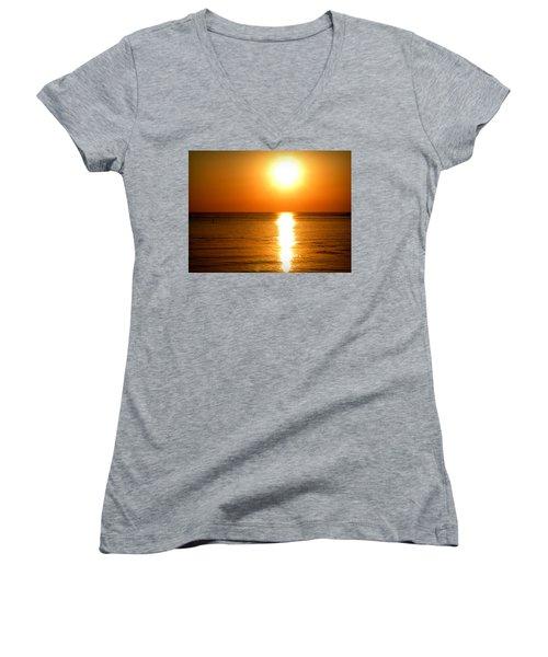 Women's V-Neck T-Shirt (Junior Cut) featuring the photograph Aegean Sunset by Micki Findlay