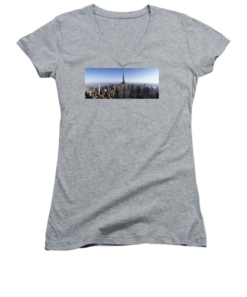 Aerial View Of A Cityscape, Empire Women's V-Neck T-Shirt (Junior Cut) by Panoramic Images