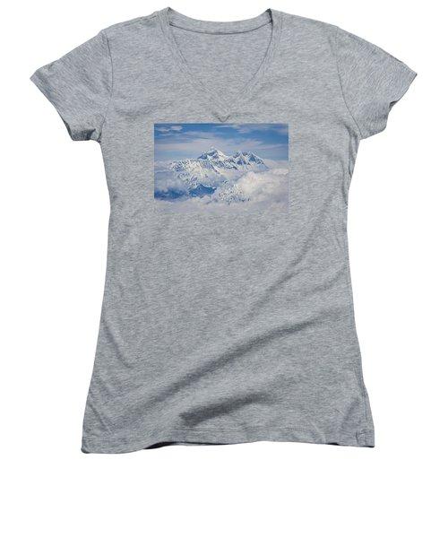 Aerial View Of Mount Everest Women's V-Neck T-Shirt