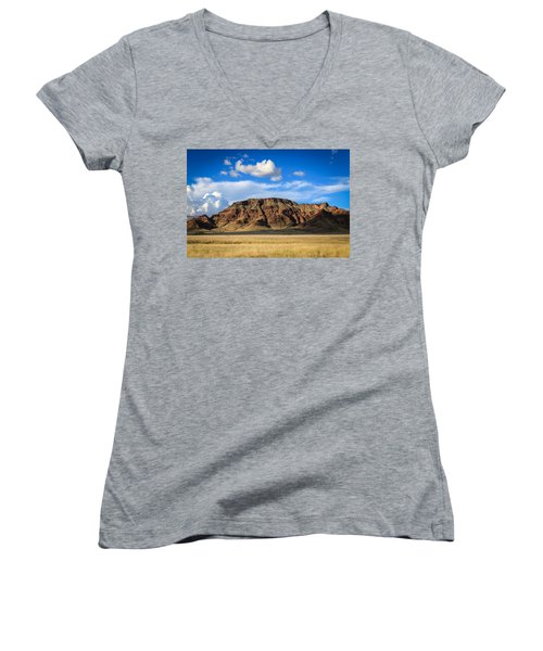 Aferican Grass And Mountain In Sossusvlei Women's V-Neck (Athletic Fit)
