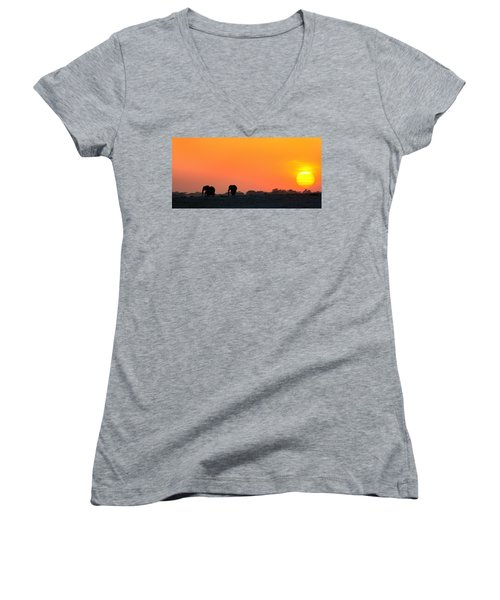 Women's V-Neck T-Shirt (Junior Cut) featuring the photograph African Elephant Sunset by Amanda Stadther