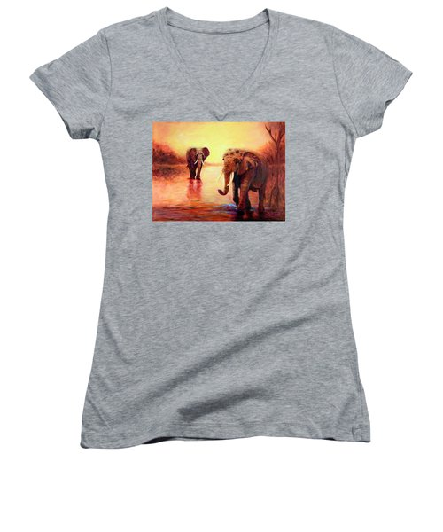 African Elephants At Sunset In The Serengeti Women's V-Neck T-Shirt