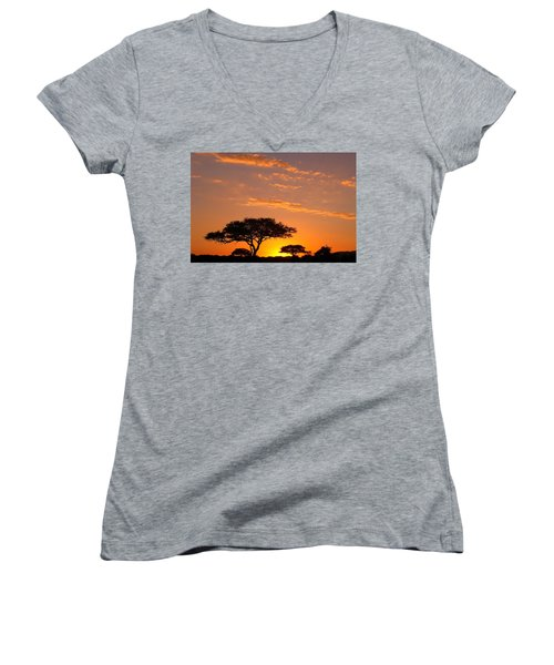 African Sunset Women's V-Neck T-Shirt (Junior Cut) by Sebastian Musial