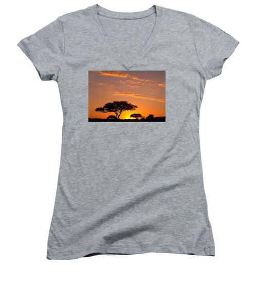 African Sunset Women's V-Neck