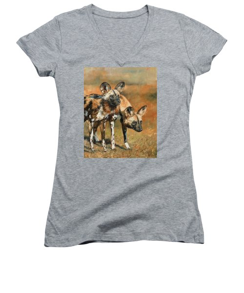 African Wild Dogs Women's V-Neck T-Shirt