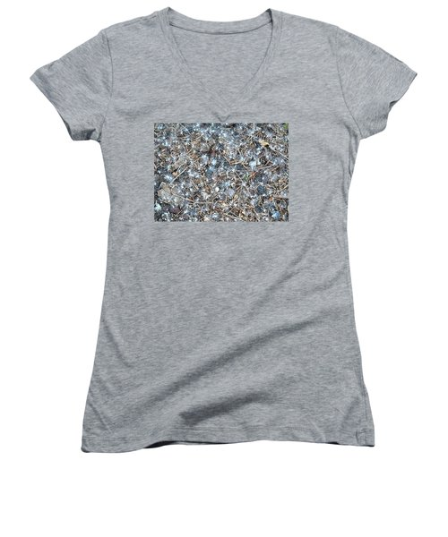 Women's V-Neck T-Shirt (Junior Cut) featuring the photograph After Jackson Pollock by Steven Richman