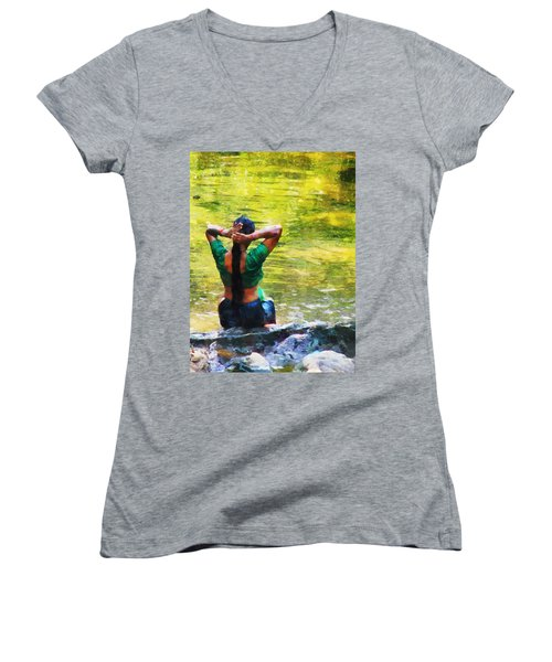 After The River Bathing. Indian Woman. Impressionism Women's V-Neck (Athletic Fit)