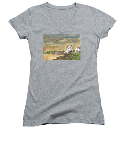 After The Storm Women's V-Neck T-Shirt (Junior Cut) by John Williams