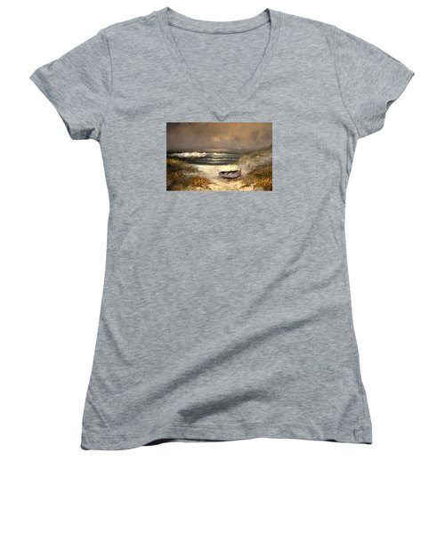 After The Storm Passed Women's V-Neck T-Shirt (Junior Cut) by Sandi OReilly