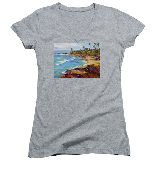 Afternoon Glow 2 /laguna Beach Women's V-Neck (Athletic Fit)