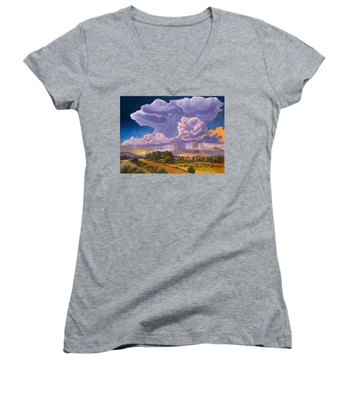 Women's V-Neck T-Shirt (Junior Cut) featuring the painting Afternoon Thunder by Art James West