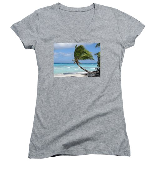 Against The Winds Women's V-Neck T-Shirt (Junior Cut) by Jola Martysz