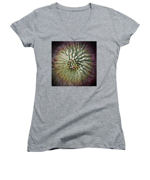 Agave Spikes Women's V-Neck T-Shirt (Junior Cut) by Alan Socolik