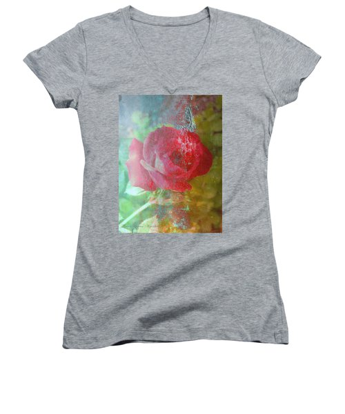 Ageless - Rose - Manipulated Images Women's V-Neck (Athletic Fit)