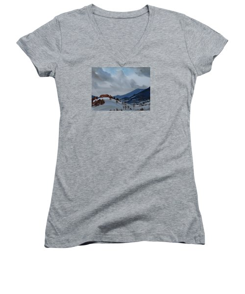 Airyhill Women's V-Neck T-Shirt (Junior Cut) by Len Stomski