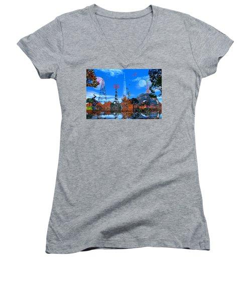 Women's V-Neck T-Shirt (Junior Cut) featuring the photograph Akrubaar by Mark Blauhoefer