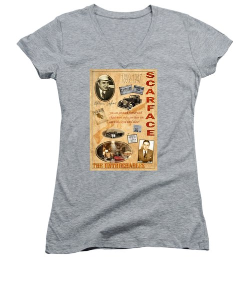 Al Capone Women's V-Neck T-Shirt (Junior Cut) by Andrew Fare