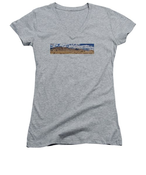 Alabama Hills And Eastern Sierra Nevada Mountains Women's V-Neck T-Shirt (Junior Cut) by Peggy Hughes