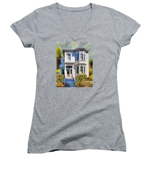 Women's V-Neck T-Shirt (Junior Cut) featuring the painting Alameda 1880 - Queen Anne  by Linda Weinstock
