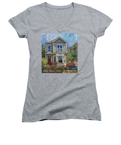 Women's V-Neck T-Shirt (Junior Cut) featuring the painting Alameda 1892 Queen Anne by Linda Weinstock