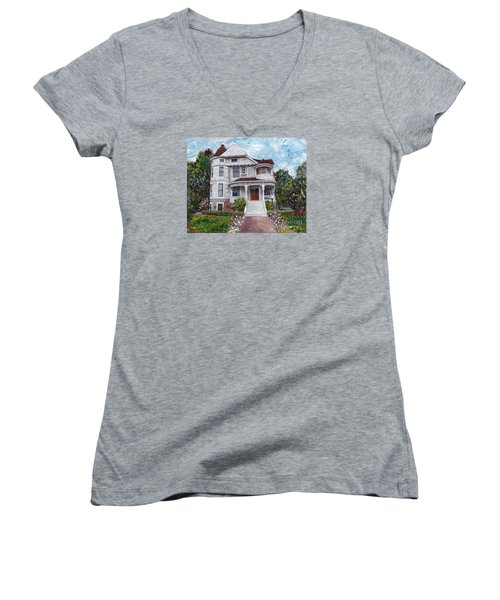 Women's V-Neck T-Shirt (Junior Cut) featuring the painting Alameda 1897 - Queen Anne by Linda Weinstock