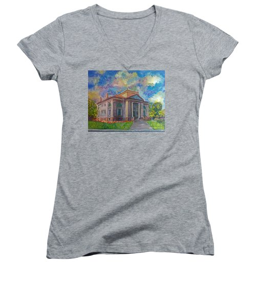 Women's V-Neck T-Shirt (Junior Cut) featuring the mixed media Alameda Carnegie Library 1899 by Linda Weinstock