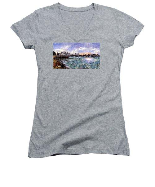 Women's V-Neck T-Shirt (Junior Cut) featuring the painting Alameda High Street Bridge  by Linda Weinstock