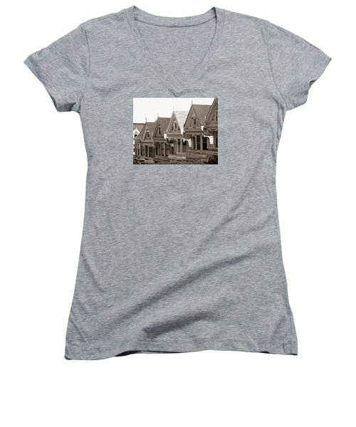 Alamo Square - Victorian Painted Ladies 2009 Women's V-Neck T-Shirt (Junior Cut) by Connie Fox