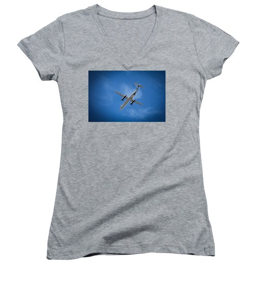 Women's V-Neck T-Shirt (Junior Cut) featuring the photograph Alaska Airlines Turboprop by Aaron Berg