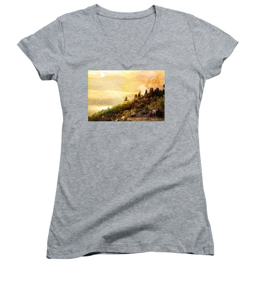 Women's V-Neck T-Shirt (Junior Cut) featuring the photograph Alaska Montage by Ann Lauwers